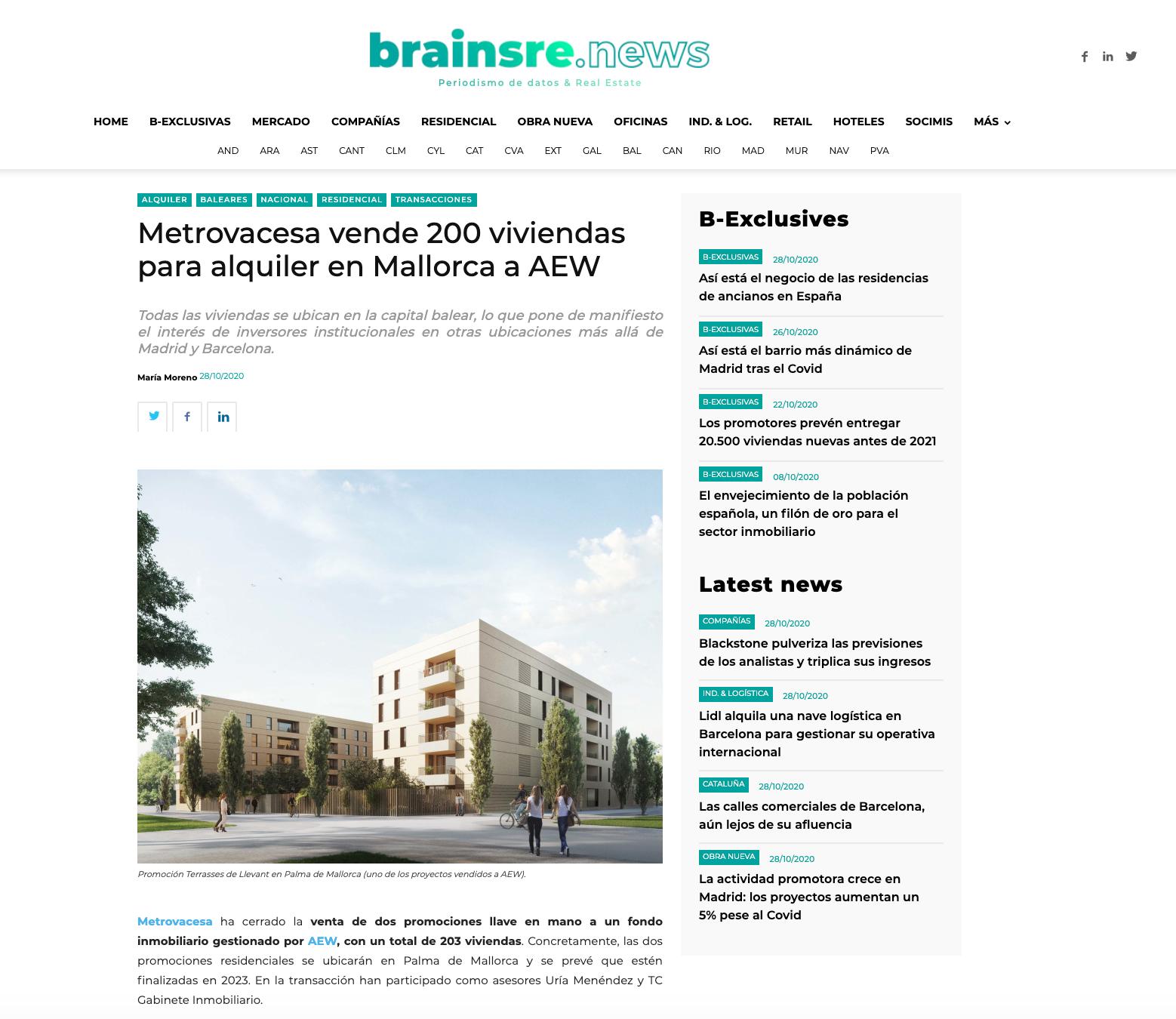 Metrovacesa vende 200 viviendas para alquiler en Mallorca a AEW
